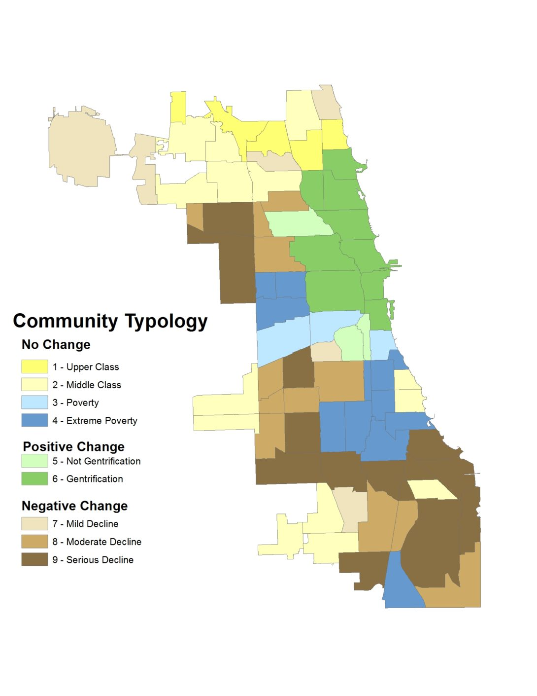 Map of Chicago showing the 9 categories of neighborhood change outlined in the report.